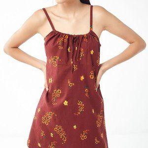 UO Ester Linen Tie-Front Mini Dress